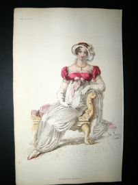 Ackermann 1812 Hand Col Regency Fashion Print. Evening Dress 8-32